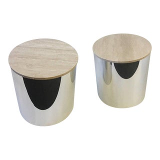 Pair of Italian Travertine and Polished Aluminum Drum Tables by Paul Mayen For Sale