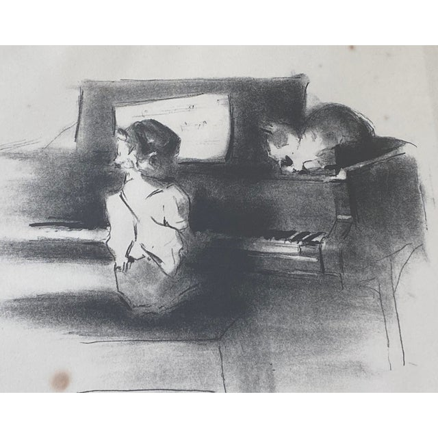 """Vintage Margery Austin Ryerson """"Child With Cat at the Piano"""" Lithograph For Sale - Image 4 of 10"""