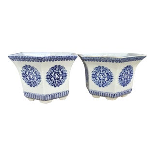 Hexagonal Blue and White Cachepot - a Pair For Sale