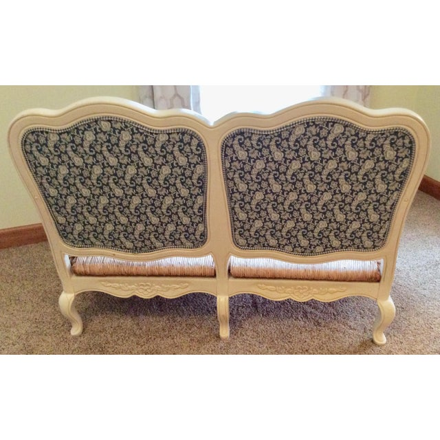 Blue Antique Styled White Country French Provential Rush Seat Settee For Sale - Image 8 of 13