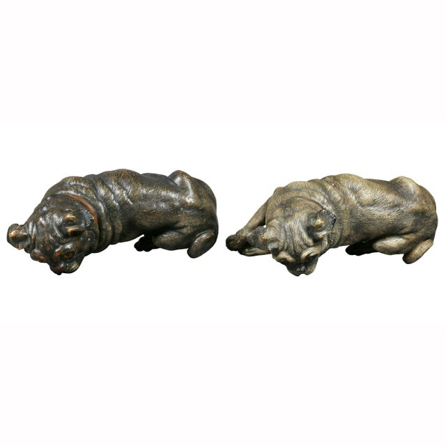 Brown Reclining Pug Dogs Terracotta Figures - a Pair For Sale - Image 8 of 10