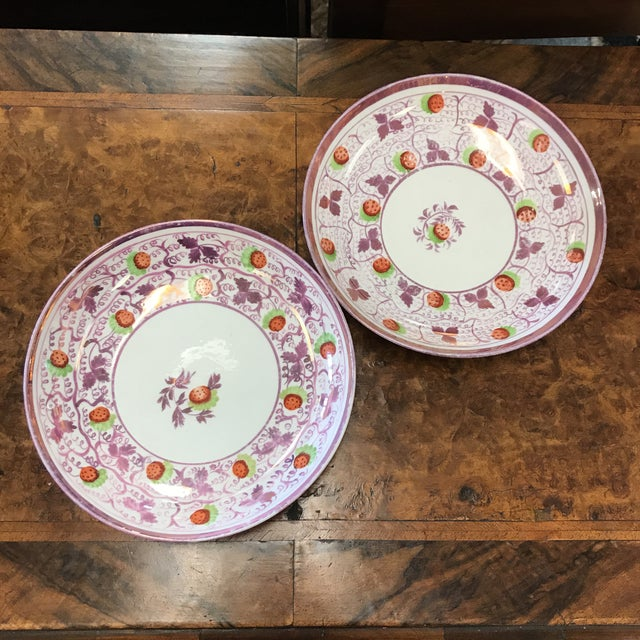 Early 20th Century Strawberry Luster Bowls - A Pair For Sale - Image 5 of 5