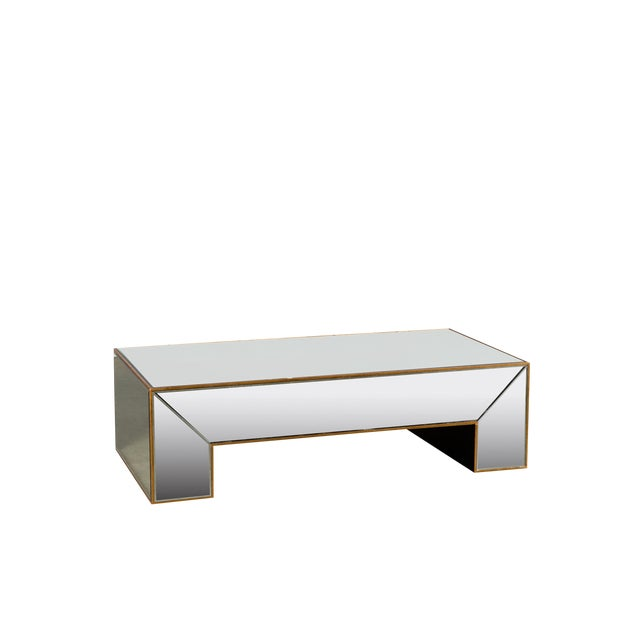 Statements By J Mirrored Coffee Table With Gold Detail Chairish