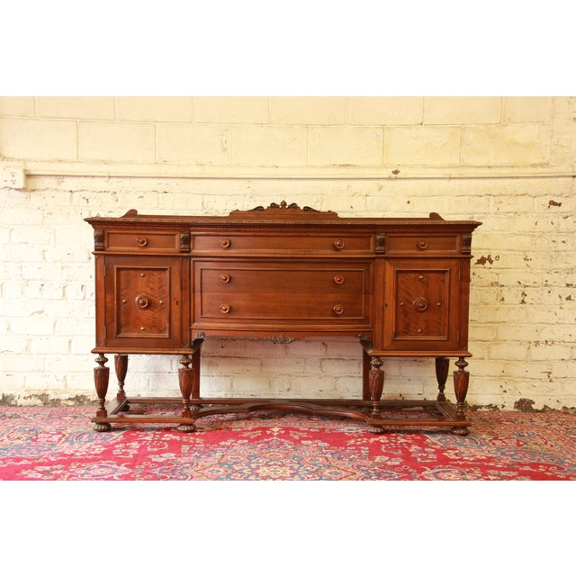 Vintage Carved Mahogany Sideboard Buffet - Image 2 of 8