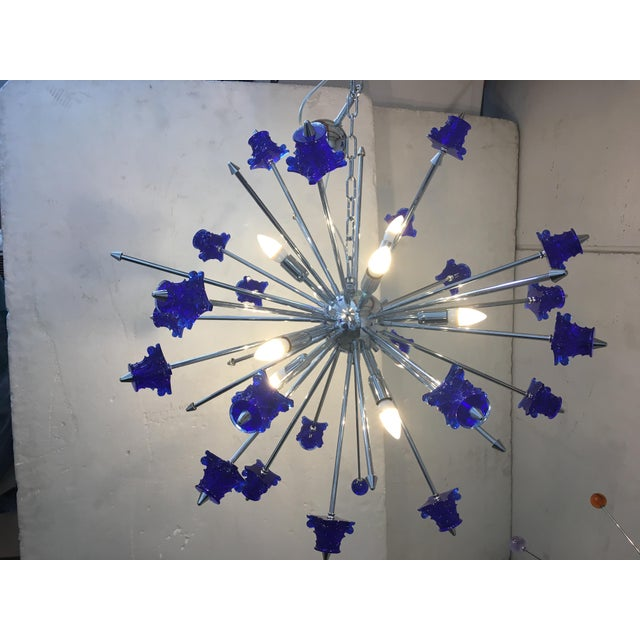 Glass Blue Crystal Glass and Chrome Sputnik Chandelier For Sale - Image 7 of 13