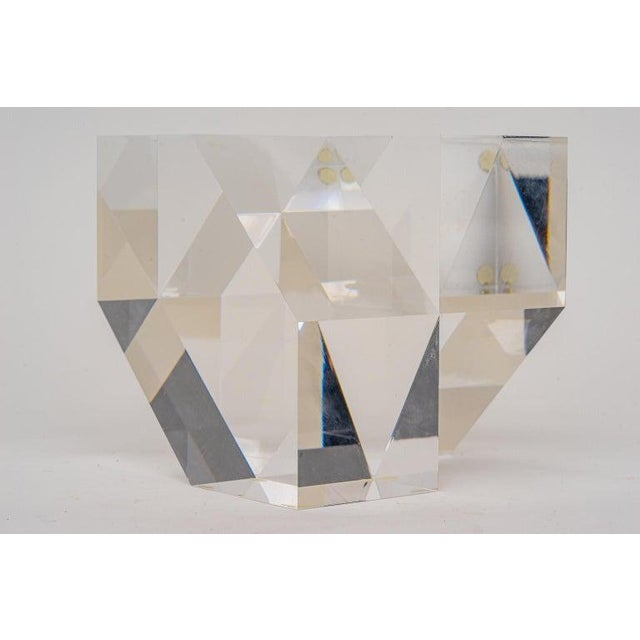 Geometric Form Lucite Sculpture For Sale - Image 4 of 11