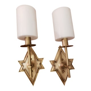 Currey & Company Fable Wall Sconce in Antique Brass - Set of 2 For Sale