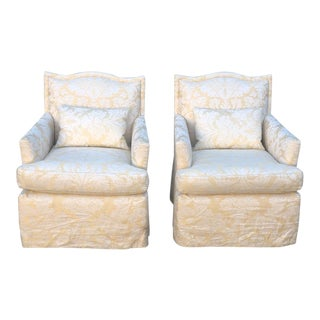 Pair of Designer Fully Upholstered Club Chairs W Swivel Base For Sale