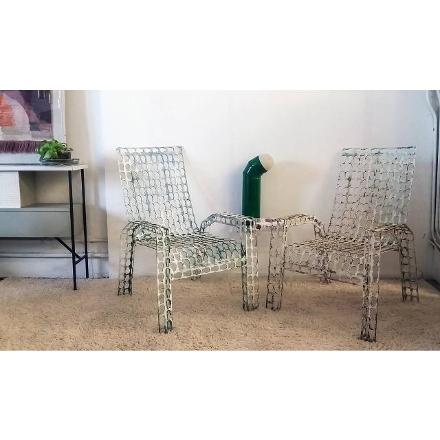 Folk Art 1970s Folk Art Pressed and Welded Steel Lounge Chairs - a Pair For Sale - Image 3 of 8