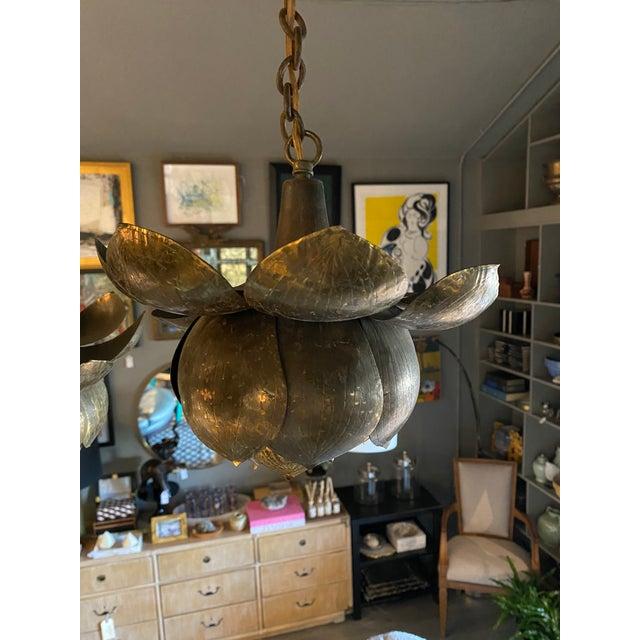 1960s Mid-Century Brass Lotus Pendant Chandelier by Feldman Lighting Co. For Sale - Image 5 of 9