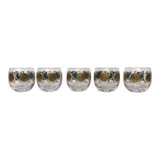 Vintage Gold Leaf Roly Poly Glasses - Set of 5 For Sale