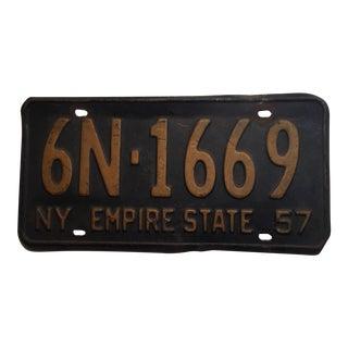 Vintage 1957 New York License Plate