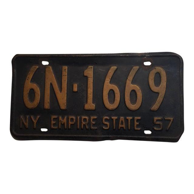 Vintage 1957 New York License Plate For Sale