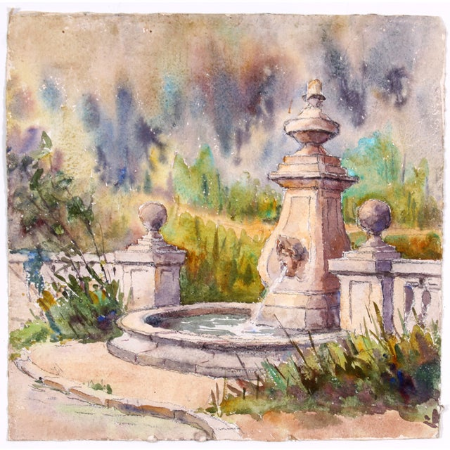 Monory French Garden Fountain Watercolor - Image 4 of 4