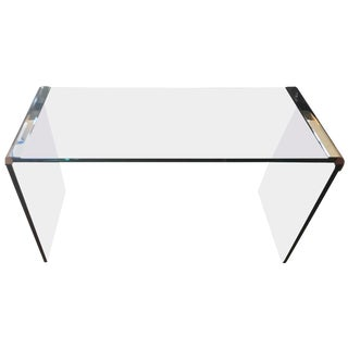 Glass and Chrome Waterfall Pace Collection Console Table For Sale