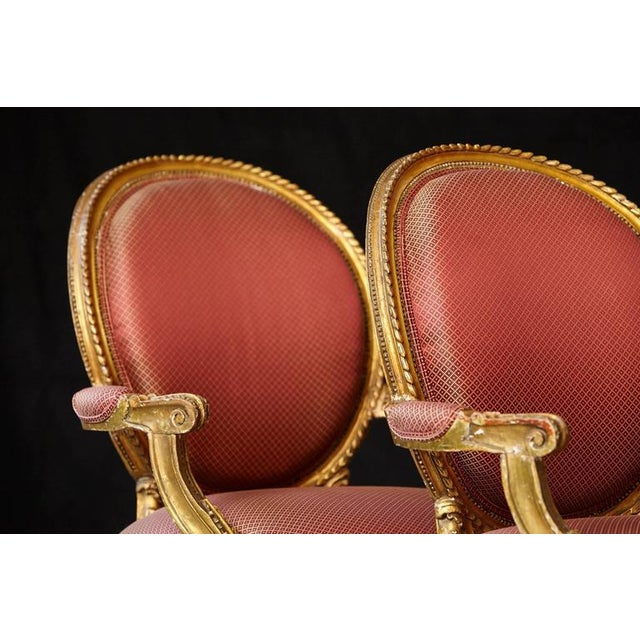 Pair of French Louis XVI Style Gilded Fauteuils For Sale - Image 9 of 10