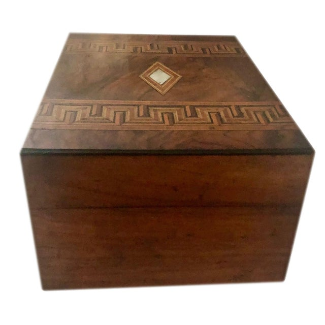 Wood Antique French Marquetry Inlay Jewelry Box For Sale - Image 7 of 10