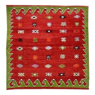 "Vintage Turkish Anatolian Hand Knotted Organic Wool Fine Weave Kilim,3'6""x3'6"" For Sale"