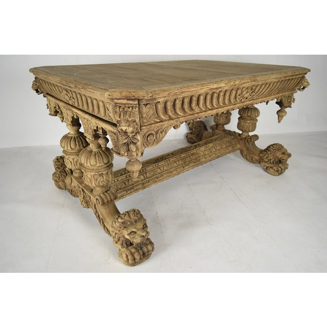 19th-C. French Bleached Oak Library Table - Image 5 of 11