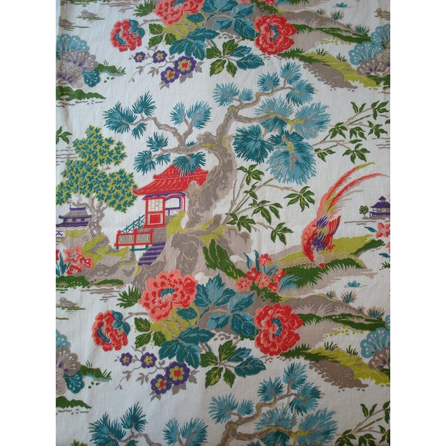 Chinoiserie Pagoda Cotton Fabric - 4.8 Yards - Image 1 of 6