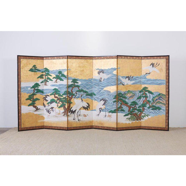 Japanese Six Panel Screen of Cranes by the Sea For Sale - Image 10 of 13