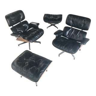 Early Eames for Herman Miller Rosewood Lounge Chairs With Ottomans - 4 Pc. Set
