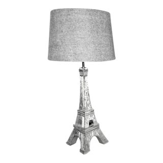 Silver Mirrored Eiffel Tower Table Lamp With Shade For Sale