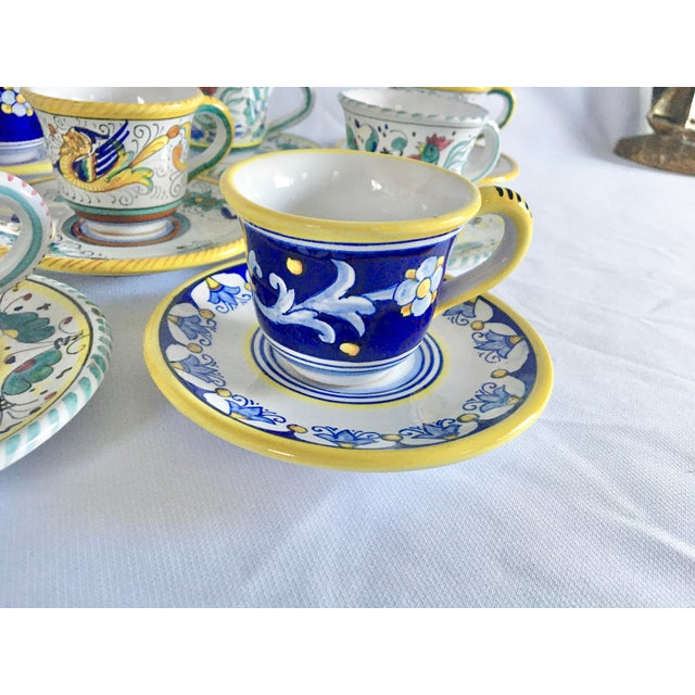Rustic European Artistica Italian Majolica Espresso Cups and Saucers - Set of 9 For Sale - Image 3 of 13