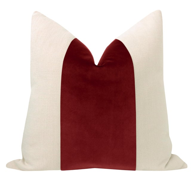 """Pair of beautiful 22"""" natural linen pillows with a saturated Crimson velvet center and solid natural linen reverse...."""