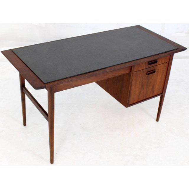 Medium Small Danish Mid-Century Modern Oiled Walnut Desk With Slate Top For Sale - Image 9 of 11