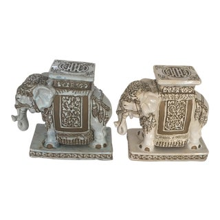 Traditional Ceramic Elephants - A Pair For Sale