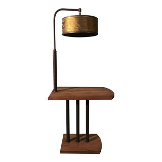 French Art Deco Side Table and Lamp For Sale