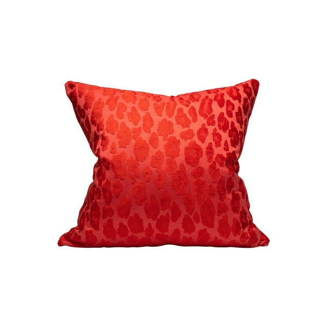 Transitional Scalamandre Chita Pillow, Tangerine For Sale - Image 3 of 3