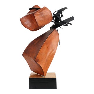 1960s Abstract Leather and Steel Sculpture For Sale