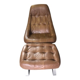 1970s Vintage Percival Lafer Earth Chair and Ottoman For Sale