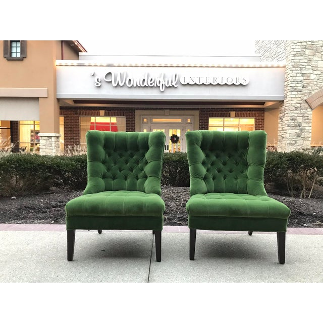 Designers Guild Velvet 1950s Vintage Tufted Armless Slipper Chairs- a Pair For Sale - Image 6 of 6