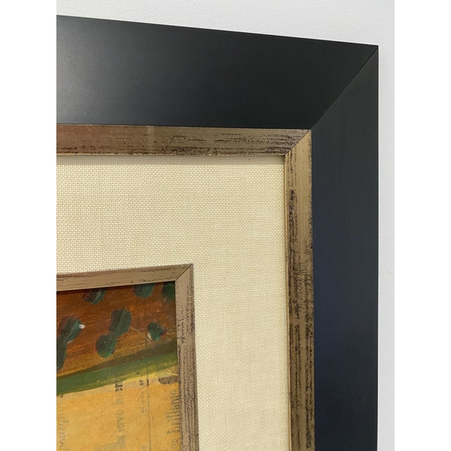 1956 Cubist Guitar J Lacoste Mixed Medium on Board Painting For Sale - Image 10 of 13