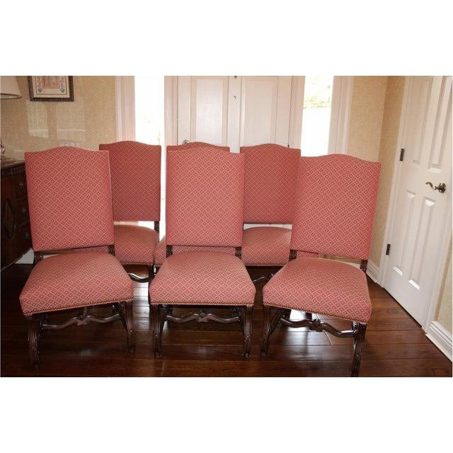 2000 - 2009 Modern Carved Wood and Upholstered Chippendale Style Dining Chairs- Set of 8 For Sale - Image 5 of 13