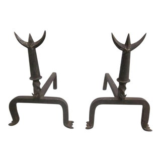 Pair French Mid-Century Wrought Iron Andirons & Fire Tool, Spirit of Giacometti