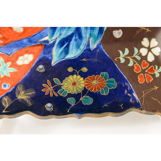 C. 1850 Blue and Orange Floral Imari Charger For Sale - Image 4 of 8