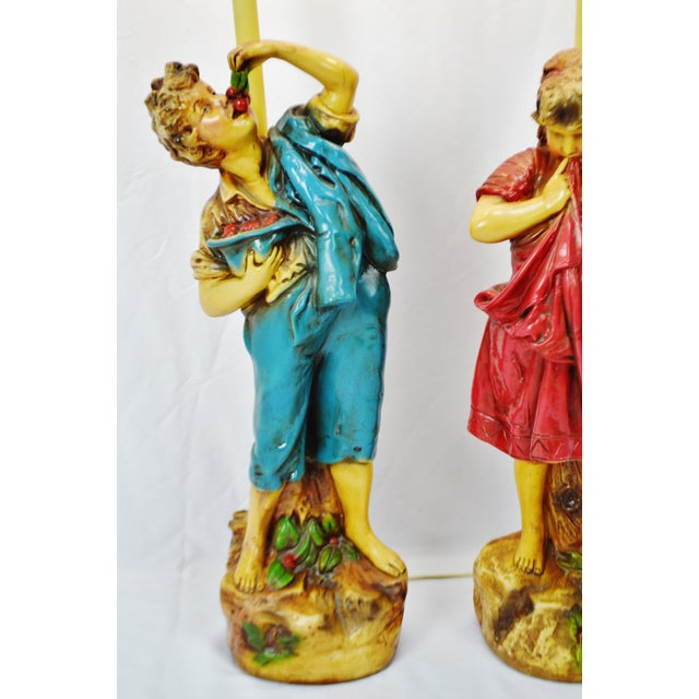Vintage Figural Chalkware Table Lamps Cherry Boy and Bashful Girl - a Pair For Sale - Image 4 of 13