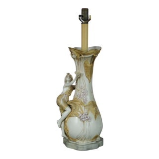 Early 20th Century Antique Porcelain Teplitz Royal Dux Lady or Nymph Table Lamp For Sale