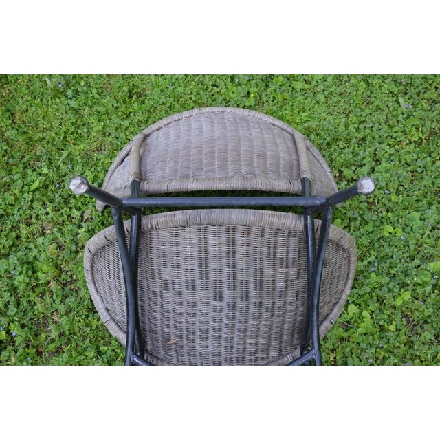 Salterini Wicker Clamshell Chairs, Pair, With Steel Frame for Home, Patio, Porch For Sale - Image 12 of 13