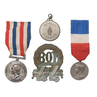 Vintage French Medal Collection, S/4 For Sale