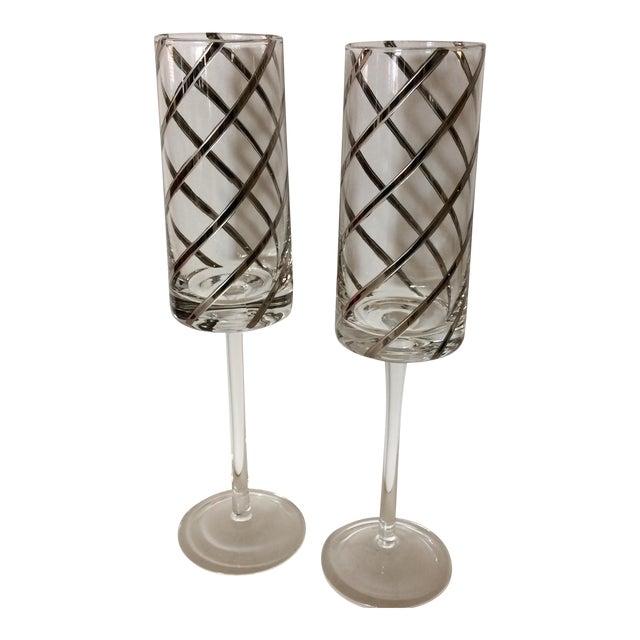 Vintage Crystal Platinum Swirl Toasting Glasses - A Pair For Sale