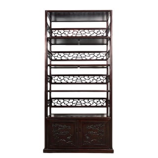 20th Century Chinese Hand Carved Rosewood Book Shelf/Display Cabinet For Sale