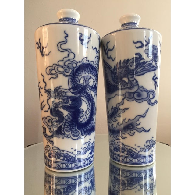 Blue and White Dragon Vases - Pair - Image 2 of 10