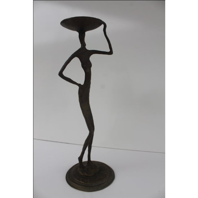 Brutalist Brass Abstract Candleholder - Image 2 of 9