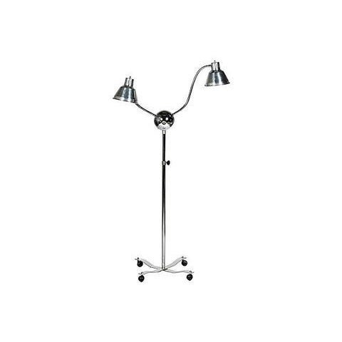 Rolling Chrome Two Light Floor Lamp For Sale - Image 5 of 8