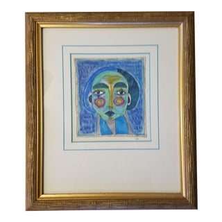 Abstract Blue Lady Drawing by LK